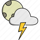 cloud, moon, night, rainy, storm, thunder, weather icon