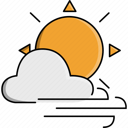 cloud, day, sun, sunny, weather, wind, windy icon