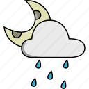cloud, moon, nature, rain, rainy, storm, weather icon