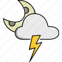 cloud, moon, nature, rainy, storm, thunder, weather icon