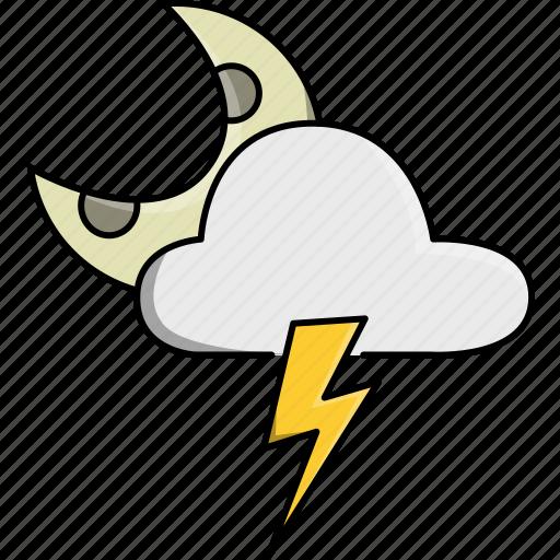 cloud, moon, nature, rainy, storm, thunder, weather icon