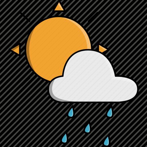 cloud, nature, rain, rainy, storm, sun, weather icon