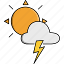 cloud, nature, rainy, storm, sun, thunder, weather icon