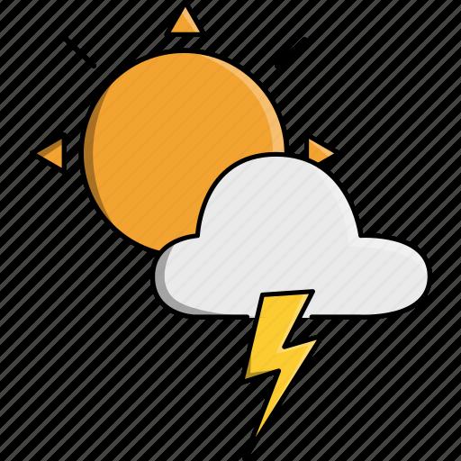 cloud, nature, rainy, storm, sun, thunder, weather icon