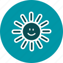 day, hot, smiling, sun, sunny, weather icon