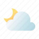 cloudy, night, weather, forecast, moon, crescent, meteorology
