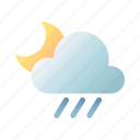 rainy, night, moon, cloudy, weather, overcast, forecast