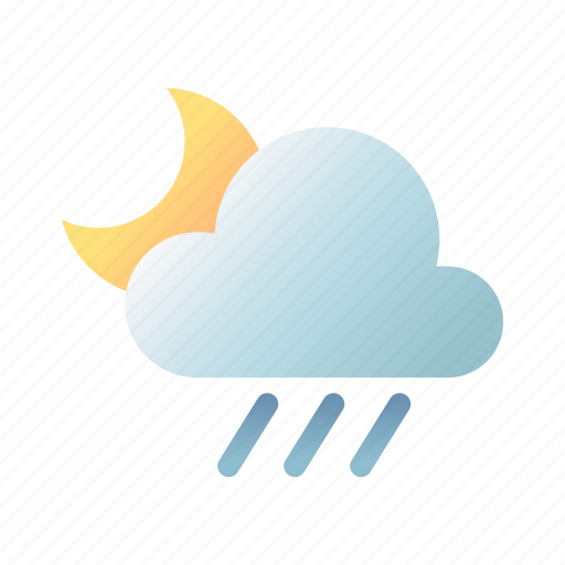 Rainy, night, moon, cloudy, weather, overcast, forecast icon - Download on Iconfinder