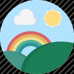 cloud, rainbow, sun, weather icon