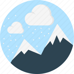 cloud, mountaine, snowing, weather icon