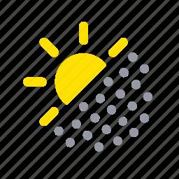 apple, dust, dusty air, ios, sun, weather icon