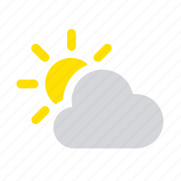apple, cloud, nebulosity, partly cloudy, sun, weather icon
