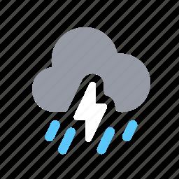 apple, lightning, night, rain, rainfall, tempest, weather icon