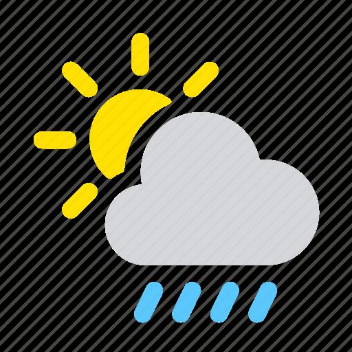 apple, ios, rain, raindrops, raining, scattered showers, weather icon