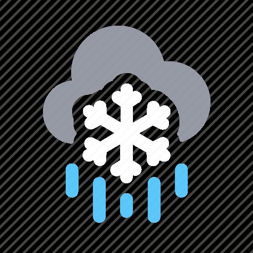 apple, ios, raining, sleet night, snowing, weather, winter icon