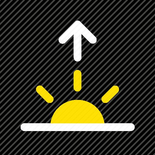 apple, daybreak, down, morning, sun, sunrise, weather icon