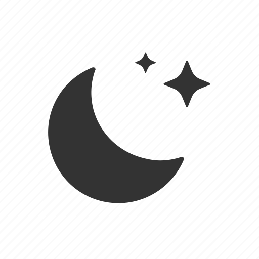 apple, clear night, crescent, night, sky, stars, weather icon