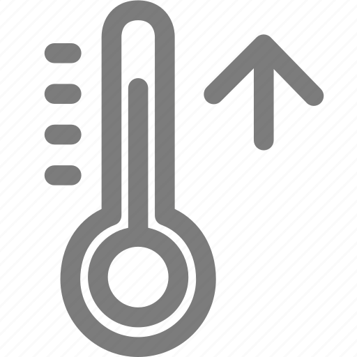 high temperature, hot, hotter, summer, thermometer, weather icon