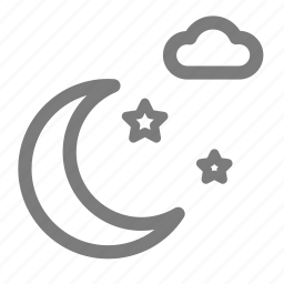 cloud, moon, moonlight, night, sky, star, weather icon