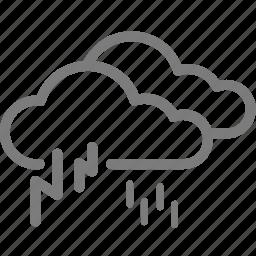cloud, cloudy, lightning, rain, rainy, thunder, weather icon