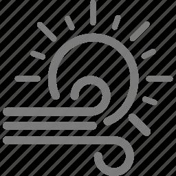 sun, sunlight, sunny, sunshine, weather, wind, windy icon