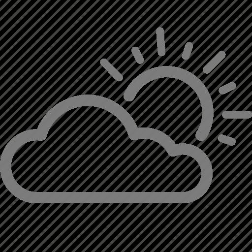 cloud, cloudy, sun, sunlight, sunny, sunshine, weather icon