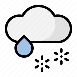 cloud, mix, rain, snow, weather, wintry icon