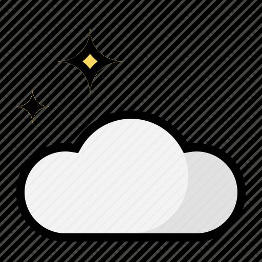 cloud, night, stars, weather icon