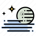fog, foggy, moon, stars, weather icon