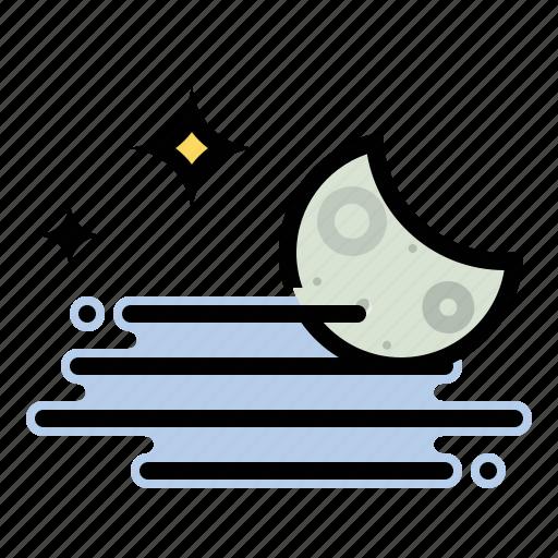 crescent, fog, foggy, moon, night, stars, weather icon