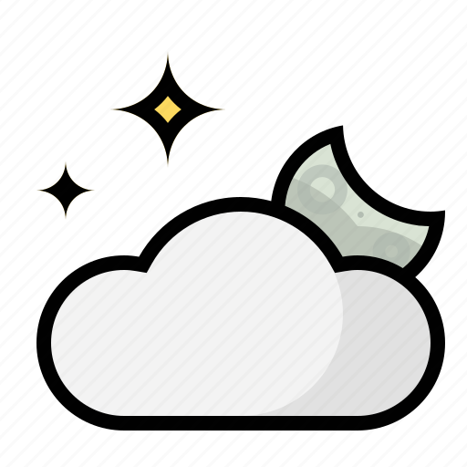 clouds, forecast, moon, night, stars, weather icon