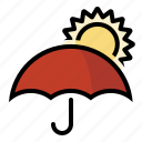 forecast, sun, umbrella, weather icon