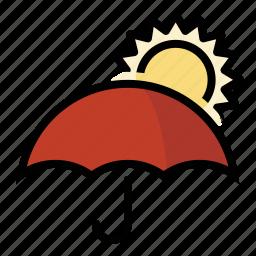 forecast, sun, umbrella, weather icon