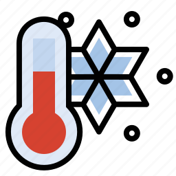 cold, forecast, snow, thermometer, weather icon