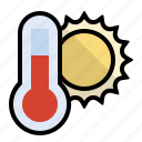 forecst, heat, sun, thermometer, weather icon
