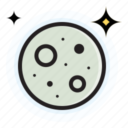 full, moon, night, stars, weather icon