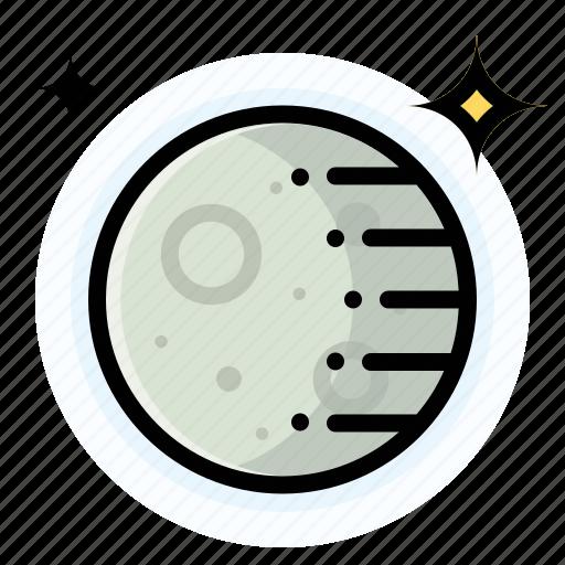 gibbous, moon, waning, weather icon