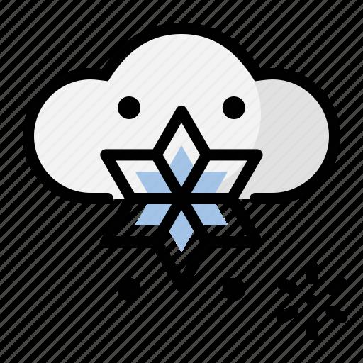 heavy, snow, weather icon