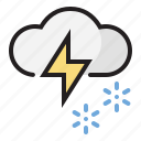 snow, thunder, weather icon