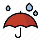 drops, rain, umbrella, weather icon
