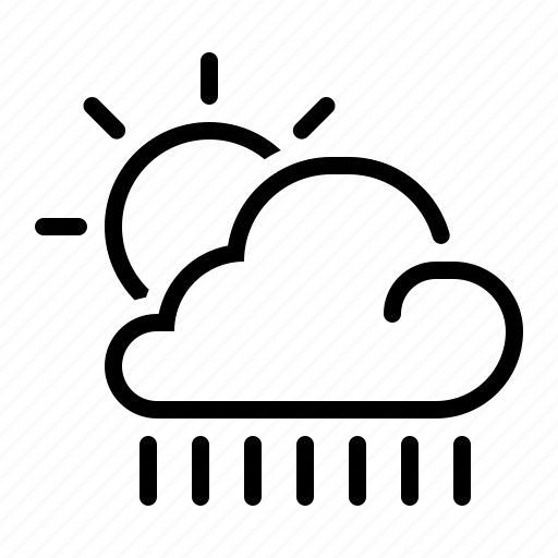 cloud, line, meteo, meteorology, rain, sun, weather icon