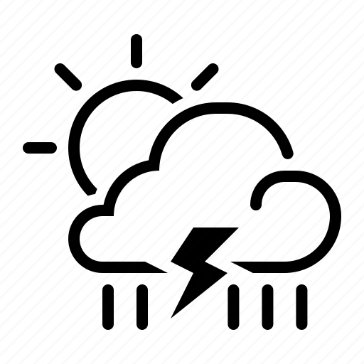 cloud, meteo, meteorology, rain, sun, thunder, weather icon