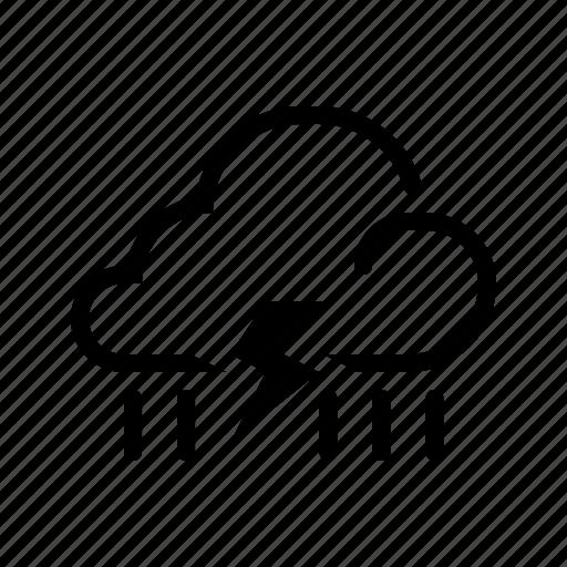 cloud, line, meteo, meteorology, rain, thunder, weather icon