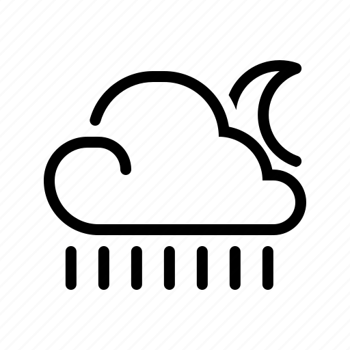 cloud, line, meteo, meteorology, moon, rain, weather icon