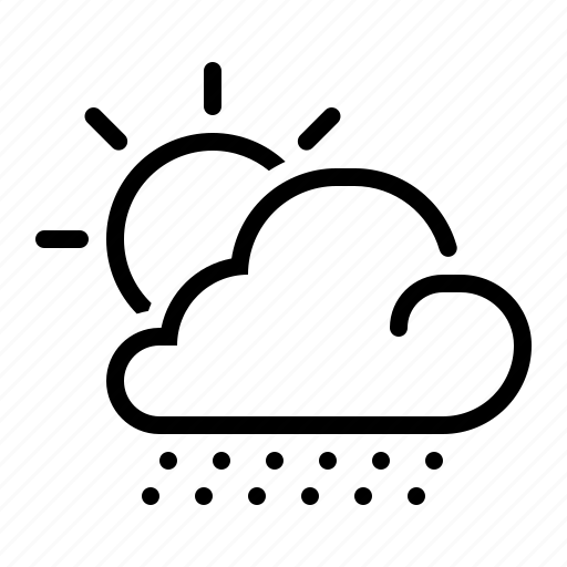 cloud, line, meteo, meteorology, snow, sun, weather icon