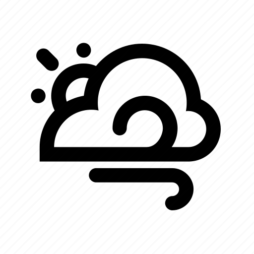cloud, cloudy, day, meteorology, sun, weather, windy icon