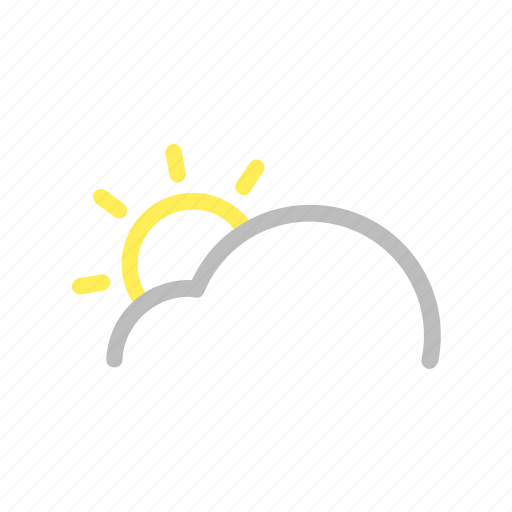 cloud, color, day, forecast, line, sun, weather icon