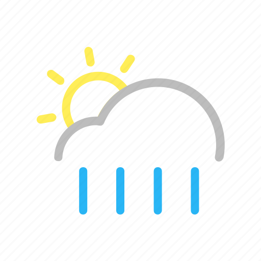 cloud, color, forecast, line, rain, sun, weather icon