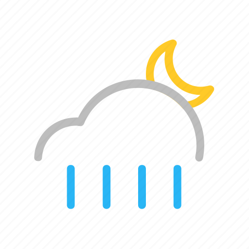 Cloud, color, line, moon, night, rain, weather icon - Download on Iconfinder