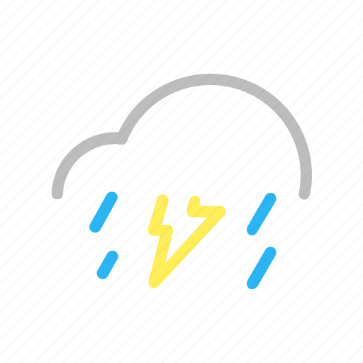 cloud, color, forecast, line, rain, thuderstorm, weather icon